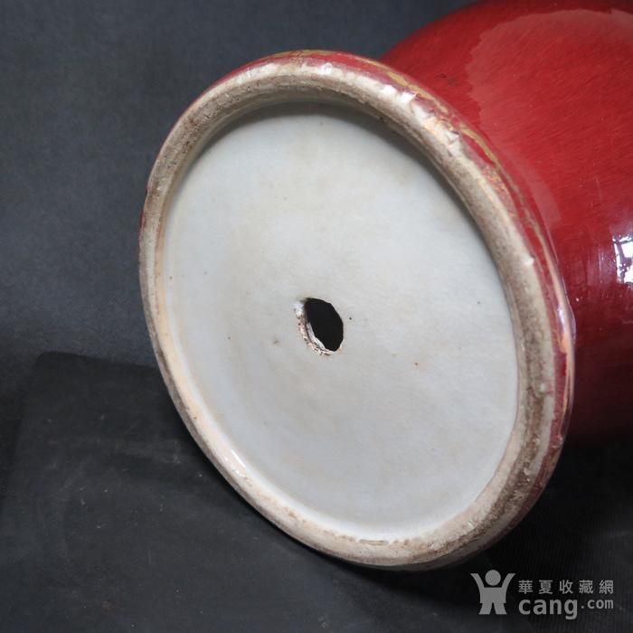 清代红釉将军罐图12