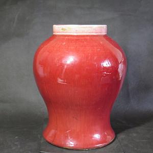 清代红釉将军罐