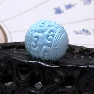 保真精品9.88克高瓷原矿松石回纹珠