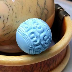 保真精品9.85克高瓷原矿松石回纹珠