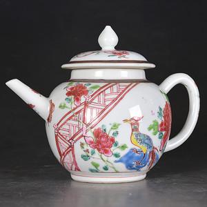 乾隆 粉彩锦鸡牡丹 茶壶