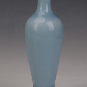 欧洲回流天蓝釉柳叶瓶