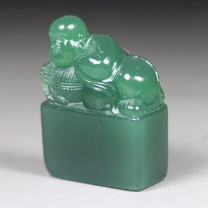 收藏品 精品西安绿钮章《小沙弥》
