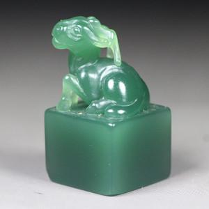 经典收藏 顶级西安绿钮章《鹿钮》