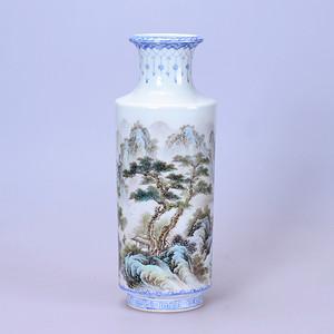 六十年代 名家王云泉粉彩山水瓶