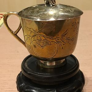 民国上海知名爱国企业五洲药房定制制银鎏金满工作杯子