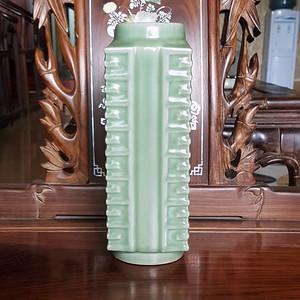 欧洲回流23厘米晚清龙泉琮瓶