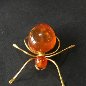 8004欧洲回流俄罗斯金工琥珀蜘蛛胸针