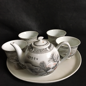 近代名家刘以桂精品雪景茶具一套