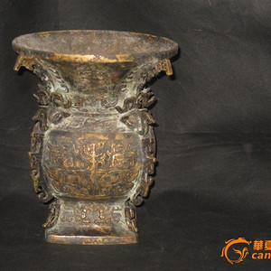 回流精品铜器清代兽耳铜尊