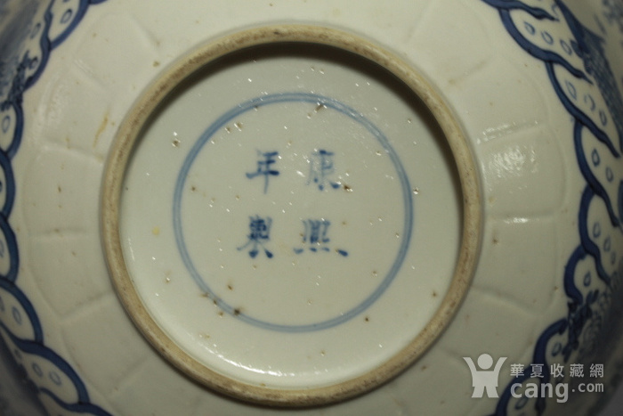 清康熙青花鱼藻纹葵口碗图9