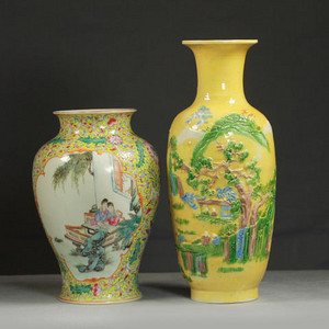 晚清黄釉雕瓷瓶观音尊两件