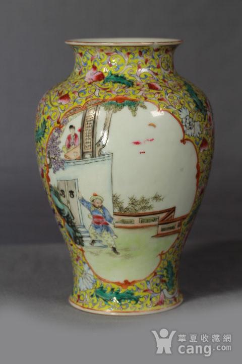 晚清黄釉雕瓷瓶观音尊两件图8