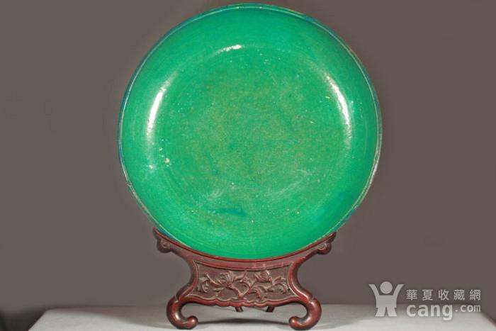 清代鹦哥绿釉大贡盘 径33公分图1