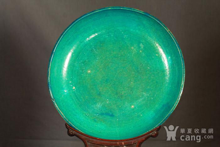 清代鹦哥绿釉大贡盘 径33公分图2