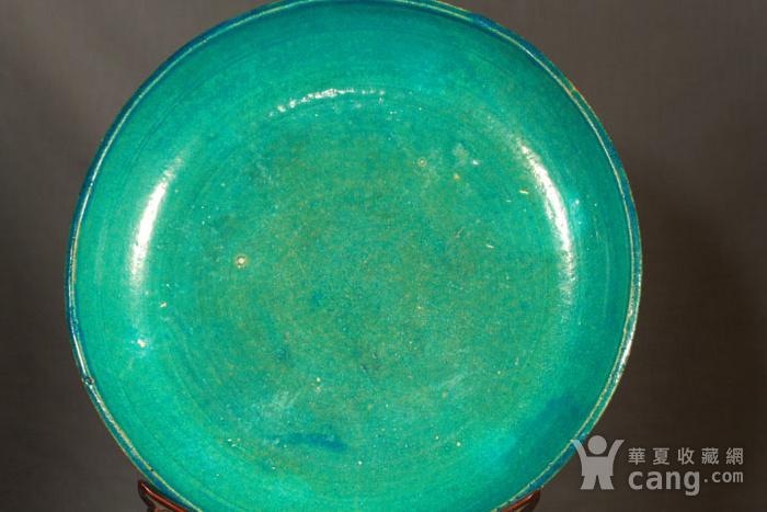 清代鹦哥绿釉大贡盘 径33公分图3