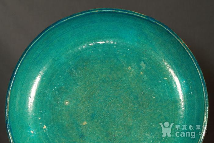 清代鹦哥绿釉大贡盘 径33公分图4