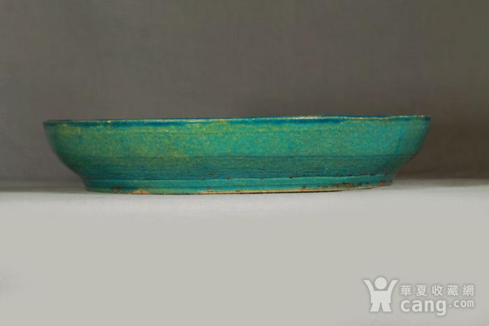 清代鹦哥绿釉大贡盘 径33公分图6
