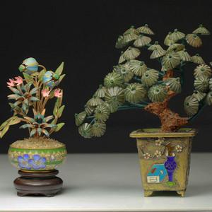 银鎏金烧蓝盆景和铜胎掐丝盆景两件