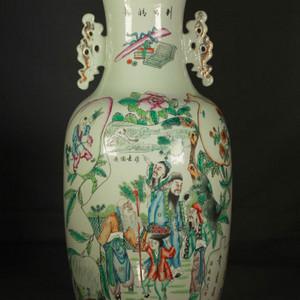 晚清民国粉彩双面人物花卉纹300件瓶