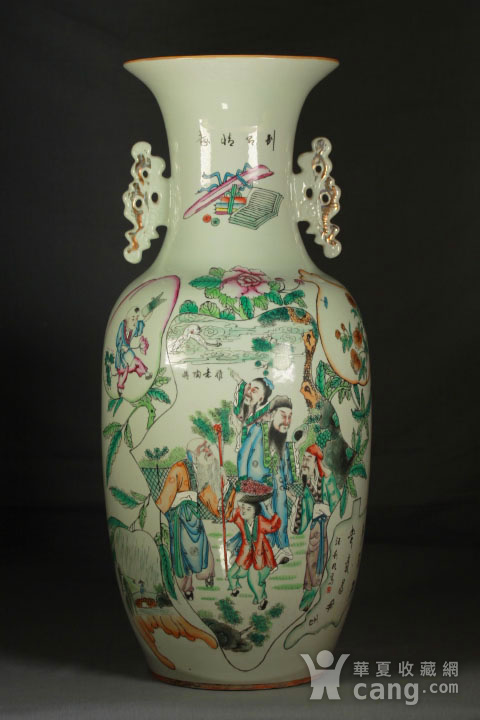 晚清民国粉彩双面人物花卉纹300件瓶图1