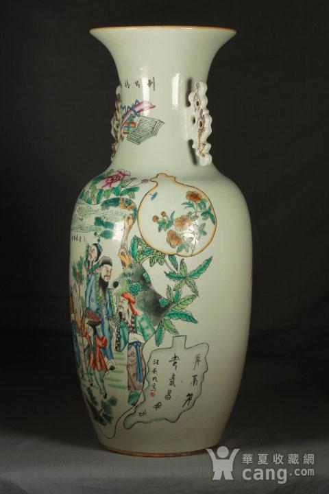 晚清民国粉彩双面人物花卉纹300件瓶图2