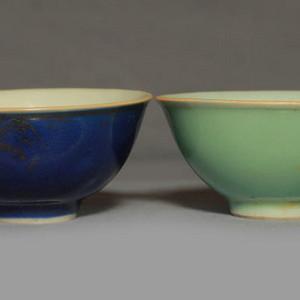 清乾隆霁蓝釉粉青釉碗两个