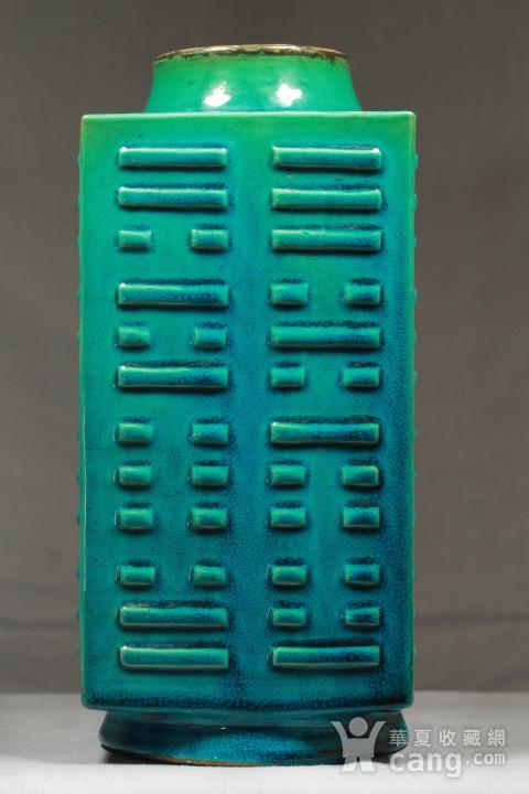 清代孔雀绿釉八卦纹琮式瓶图4