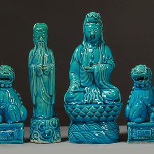 晚清民国孔雀蓝釉瓷塑四件