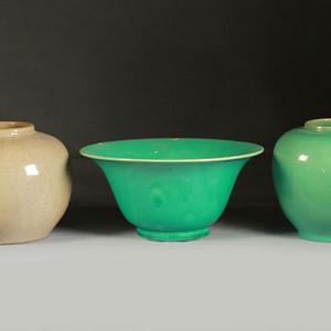 清代单色釉瓷三件