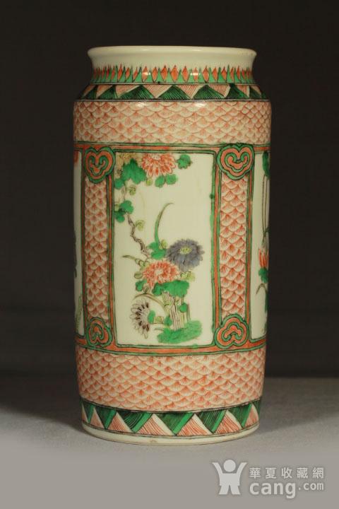 清早期五彩开光四季花卉纹筒瓶图1