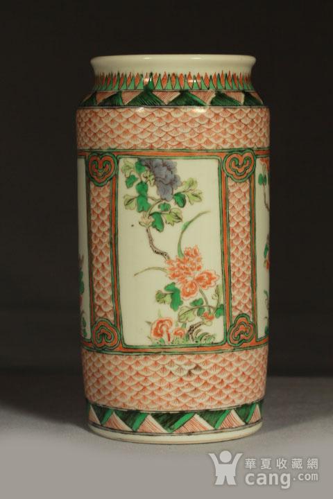 清早期五彩开光四季花卉纹筒瓶图2