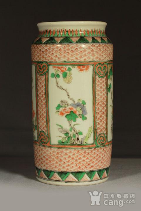 清早期五彩开光四季花卉纹筒瓶图3