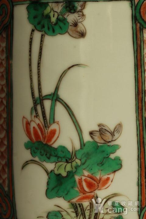 清早期五彩开光四季花卉纹筒瓶图8