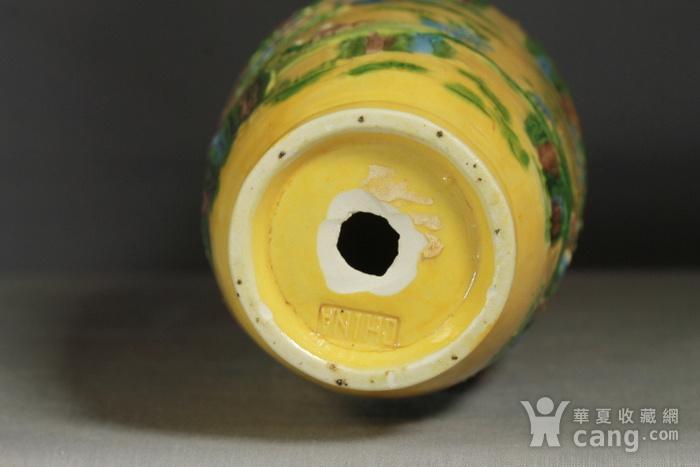 晚清黄釉雕瓷瓶观音尊两件图6