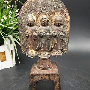 大明永乐年制西方三圣铜镏金佛像