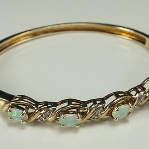 回流银鎏金天然欧泊宝石手镯