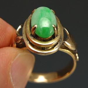 国外回流14K金天然绿翡翠戒指