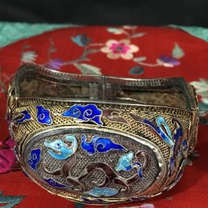 清代精品螭龙纹掐丝烧蓝银镏金老手镯