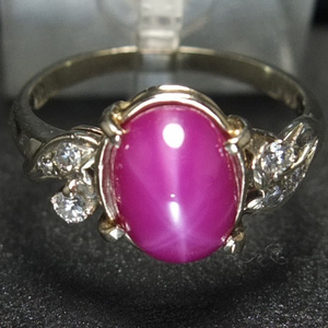 14K金 天然 红宝石 星光纹 戒指