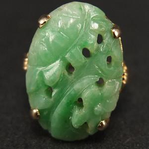 清代14K金镶嵌 天然绿翡翠 戒指
