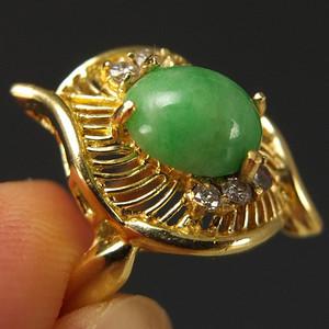 美国回流 14K金镶嵌 天然绿翡翠 戒指