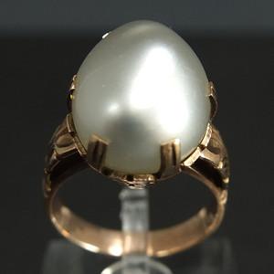 美国回流14K金天然珍珠宝石 戒指