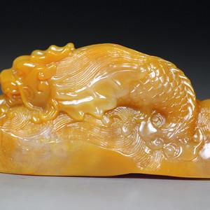 珍品收藏 珍品老挝田黄石圆雕《鳌龙吸水》钮章