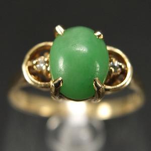 14K金镶嵌 天然A绿翡翠 戒指