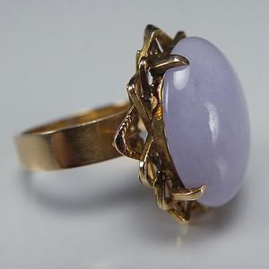 国外回流14K金镶嵌天然紫翡翠戒指