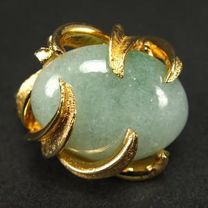 欧美工艺 银鎏金天然A翡翠 戒指