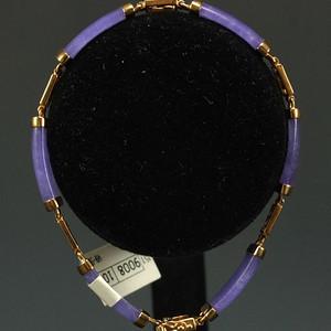 美国回流鎏金镶嵌天然紫色翡翠 手链