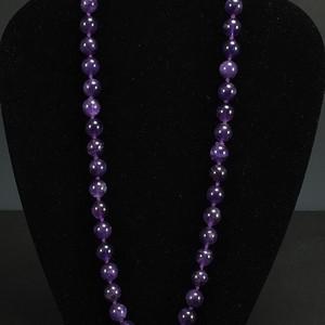 美国回流 天然紫色水晶圆珠项链