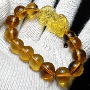 英国回流的巴西黄水晶貔貅手串